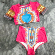 Bikinis 2017 Short Sleeve Swimsuits Padded Cup Swimming Suit High Waist Bottoms Vintage Printed Beach Brazilian Bikinis Set