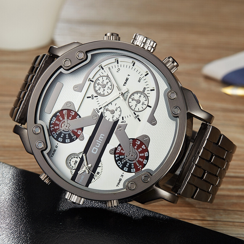 Oulm Male Military Watches Golden Hour Oversized Big Quartz Watch Top Brand Men Full Stainless Steel Wristwatch montre homme 8