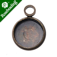Antique Bronze Plated Pendant trays,lead and nickle free,fit 8mm round glass cabocon,base metal bezel, sold 50pcs per pkg(China)