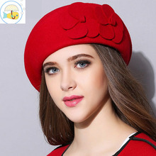 wool beret winter berets women winter felt beret Floral Women Felt French Beret Beanie fedora hat Beanie Winter Flower(China)