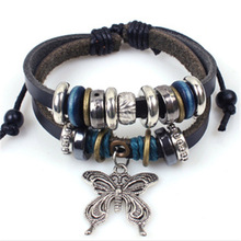Drop Shipping Vintage Style Romantic Butterfly Shaped Pu Leather Bead Bracelet Charming Jewelry