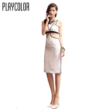 PLAYCOLOR White Sexy Cocktail Party Dress Woman Prom Dresses Gowns 2017 Sleeveless Girls Cocktail Dresses Summer _PD1605020