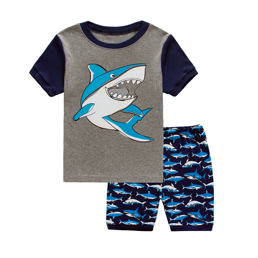 Short Sleeve Children's Pajama Sets for Boys Cotton Summer Baby Pajamas Infant Kids Toddler Children's Sleepwear Suit 2T-7T(China (Mainland))