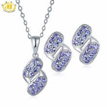 Hutang Eternity Pendant & Earrings Made By Natural Gemstone Tanzanite Solid 925 Sterling Silver Fine Jewelry Sets For Women