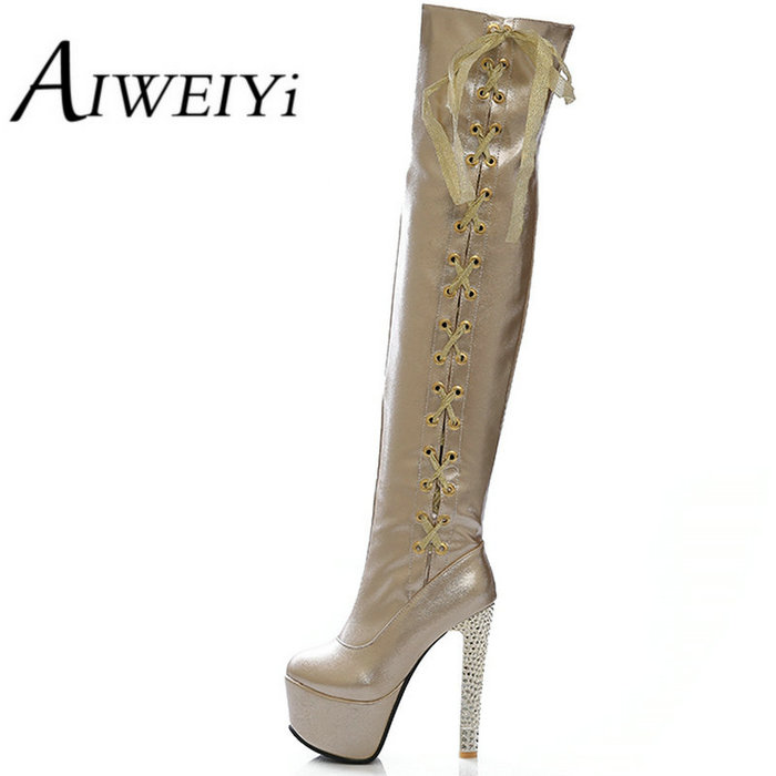 AIWEIYi New Women Boots Sexy Red Bottom Thigh High Boots Platform Thin Heels Shoes Woman Over the Knee Boots Plus Size<br><br>Aliexpress