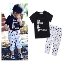 My mom is my stylist Short Sleeve T-shirt Tops+Dot Long Pants Newborn Kids Baby Girls Outfit Clothes Trousers 2PCS Clothes Set(China)