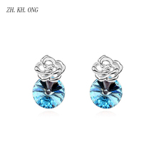ZH.KH.ONG Exquisite Rose flower crystal stud earrings fashion simple women jewelry E288 - ZH KH ONG Store store