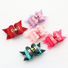 Armi store Handmade Vintage Lace Lattice -Shaped Mausoleum Ribbon Bow 22044 Pet Bow Dog Boutique