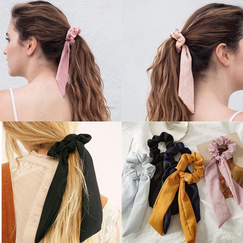 Solid Satin or Striped Chiffon Elastic Hair Band Scrunchie Scarf Ponytail Ties