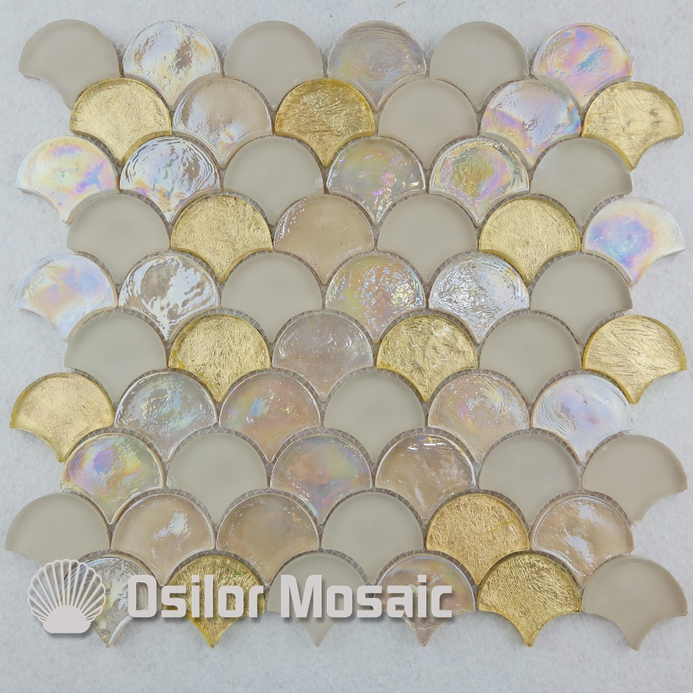 Free shipping fan-shape glass crystal mosaic tile for interior house decoration wall tile iridescent mixed color<br>