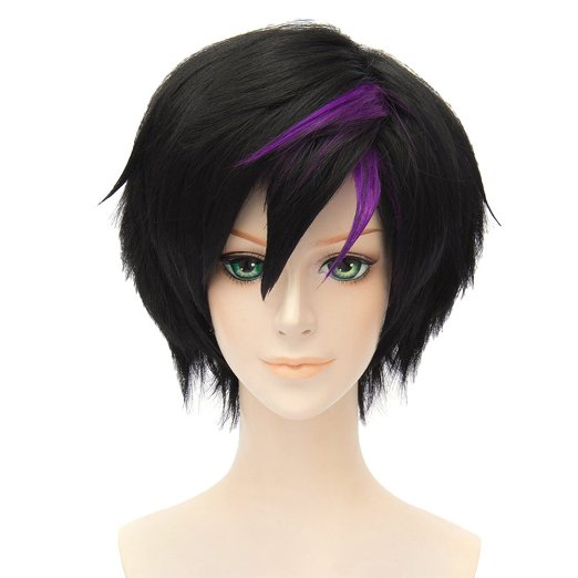 Movie Big Hero 6 Go Go Tomago Anime Cosplay Costume Wig Womens Short Straight Partys Wig Hair (Black With Violet)<br><br>Aliexpress