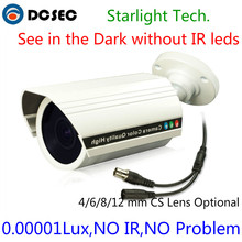 Ultral Low Illumination 0.0001 Lux FULL Color Starlight WDR Camera SONY CCD Camera IP66 Waterproof See dark without IR leds