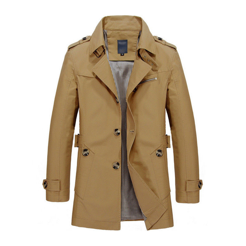 Korean Overcoat Khaki Black PLus size XXXL XXXXL 5XL british style Slim fit trench coat long men New Spring 2017 man Windbreaker (1)