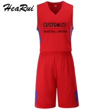 2017 Men Basketball Jersey Sets Uniforms kits Sports clothes Traning Breathable shirts and shorts suits Customized(China)