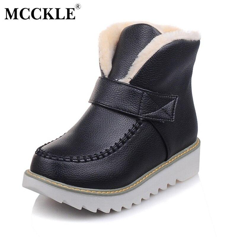 MCCKLE Ladies Winter Warm Plush Hook Loop Ankle Snow Boots Womens Slip On Sewing Flat Black Platform Fur Shoes Plus Size 33-43<br>