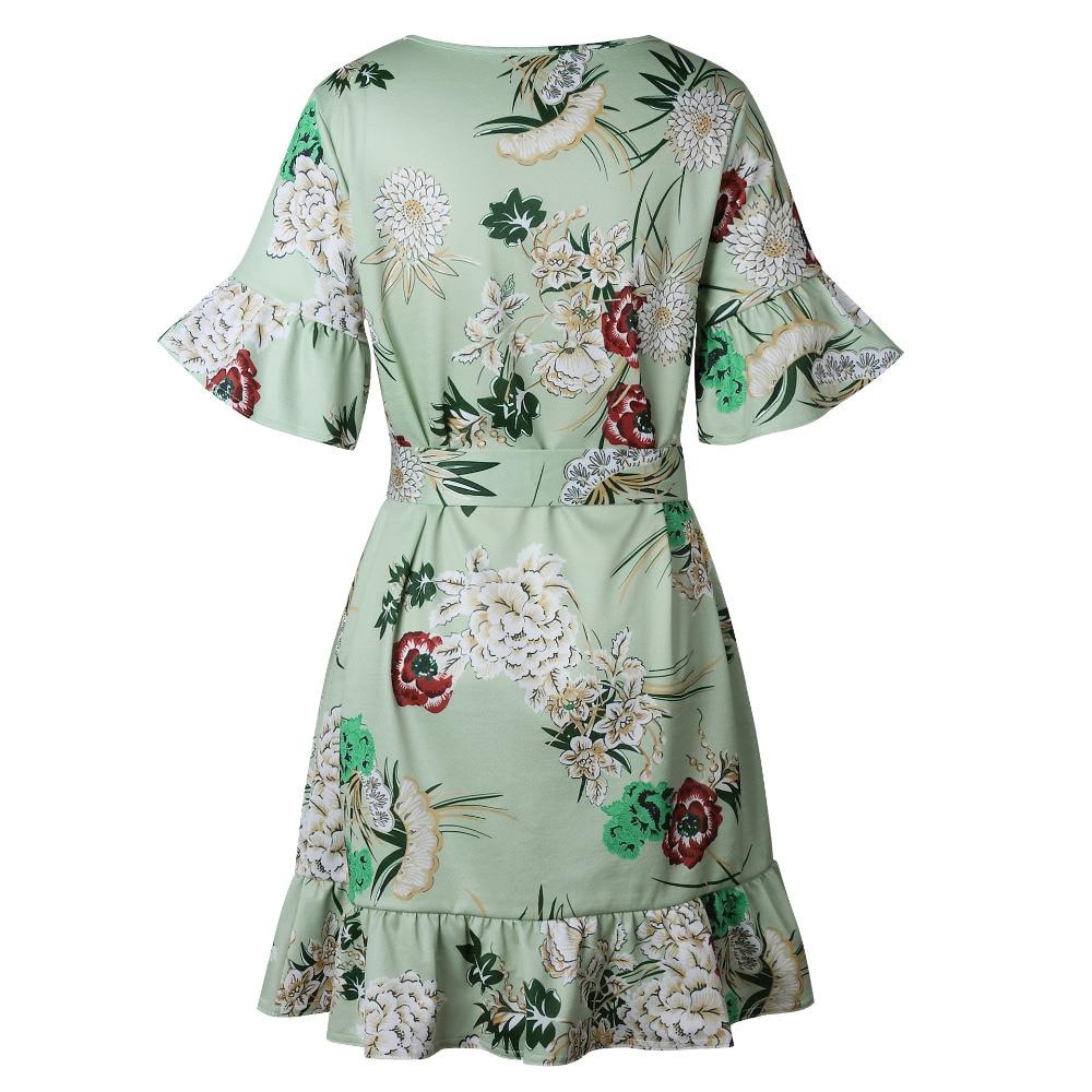 Lossky Summer Women Beach Dress 2018 Bohemian Floral Print Boho Dress O-Neck Short Sleeve Ruffle Mini Chiffon Dress With Belt 1