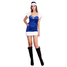 Simple Cute Strapless Christmas Sexy Adult Fancy Cosplay Costume Christmas Santa Cosplay Blue Xmas Dress L70930