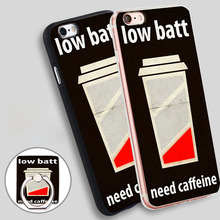 low battery need caffeine Phone Ring Holder Soft TPU Silicone Case Cover for iPhone 5 SE 5S 6 6S 7 Plus