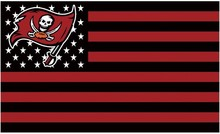 Tampa Bay Buccaneers Flying Flag Black and Red Strip Banners 100D Polyester Flag With Wite Sleeve 90*150 CM