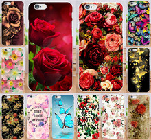PC Plastic DIY Pattern Phone Case For Fundas iPhone4 4S Phone Colorful Rose Flower Butterfly Hard Back Cover  For iPhone 4 4S
