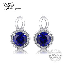 JewelryPalace Round Blue Created Sapphires Stud Earrings For Women Pure 925 Sterling Silver Jewelry Fine Jewelry Earrings Gift(China)