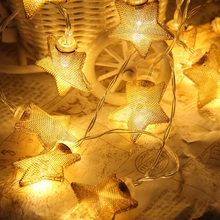 1.5M 10LED Fairy String Lights Wedding Party Xmas Christmas Garland Star Shaped Light Livingroom Outdoor Decortive Lamp(China)