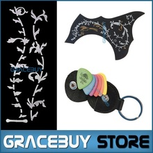 Guitar Picks Holder Bass Acoustic Guitarra Pick Guard Palhetas Plectrum Bag with Guitar DIY Neck Fret Inlay Stickers