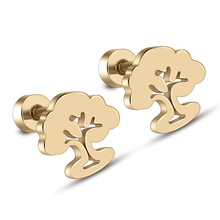 High Quality Stainless Steel Gold Color Stud Earrings For Women Classic Screw Back Ladies Life Tree Earring Wholesale (A1410)(China)