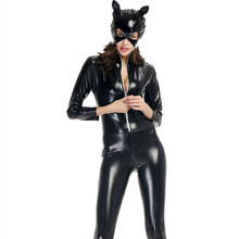 Buy Plus Size M L XL XXL 2018 Sexy Catwoman Faux Leather Cat Costume PVC Leotard Bodysuit Mask Vinyl Latex Catsuit Clubwear