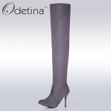Odetina Sexy High Heel Over The Knee Boots Large Size Women Pointed Toe Thigh High Boots Suede 2016 Women Winter Boots Long New