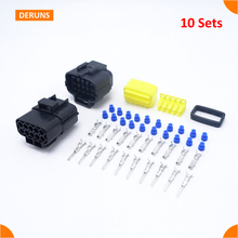 Wholesale Free Shipping 10 Pin Way 10 Sets Kits High Quality Amp Waterproof Electrical Connector Plugs For Automotive