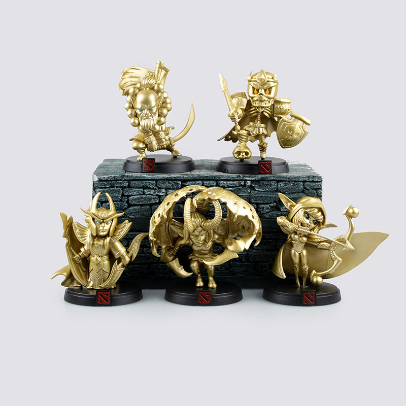 5pcs/set Golden Dota 2 Global Official Limited Collection dota2 Game Action Figure Boxed Toys()