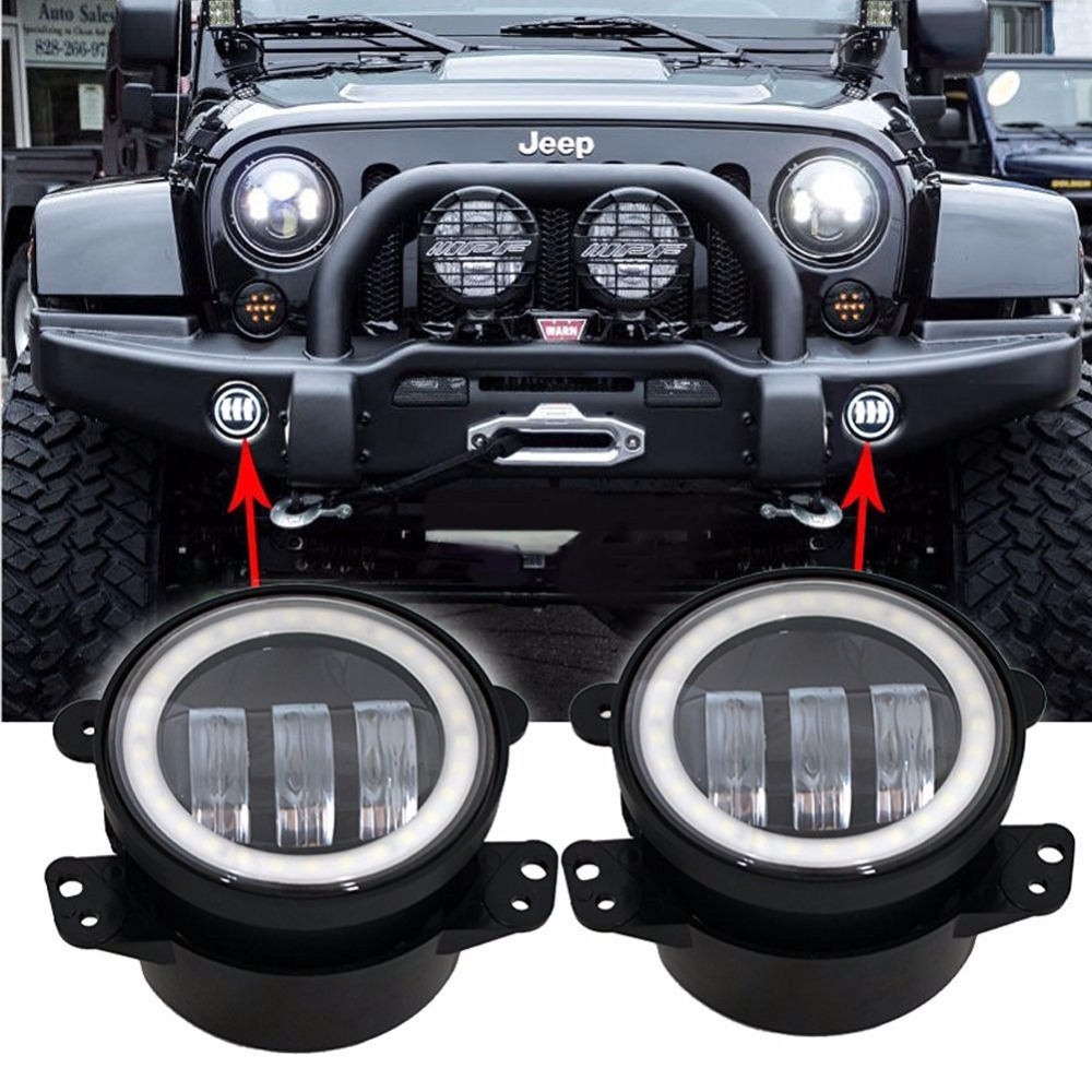2pcs 4inch 30W white angel eye 4 fog led car styling Bumper Led Fog Light For Jeeps Wrangler JK 07-15 For Dodge Magnum 05-08 <br><br>Aliexpress
