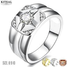 Fashion Design Gold color rings Men's jewelry wedding ring size 8 9 10 opal horloge(China)