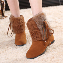 Winter Women Boots Snow Women Fashion Boots 2017 New Latest Yarn Knitted Warm Boots Ladies Fringe Shoes(China)
