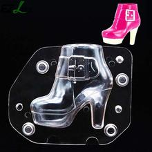 3D Plastic Women Boots Chocolate Mold Lady Shoes Candy Molds Cake Decorating Tools DIY Home Baking Sugar Craft CHW4044(China)