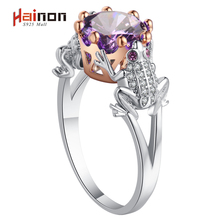 Frog Prince Shape Ring for women summer fashion jewelry purple crystal animal charm rose gold silver color dropshipping(China)