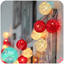 20 Rattan Latterns Led Warm White Red Patio Light Decoration DIY For Christmas Tree Lights Indoor Weddings Natal New Year Decor