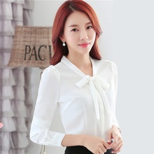 Work Style OL Trendy White Purple Pink Blouse Chiffon Bow V Neck Business Suit Shirt Women Puff Sleeve Clothes Tops Woman