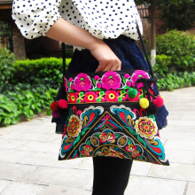 National Chinese Style Canvas Embroidery Bags Double Side Embroidered Shoulder Messenger Bag unique women's Small Square Handbag