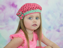 Crochet Toddler Beret, Children Summer Hat, strawberry pink, Girl Pink beret, stylish hat, 4 year old gift, colorful kids hat,