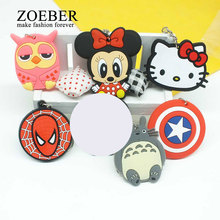 Zoeber Anime Cartoon PVC Keychain cute bunny captain Marvel owl KT Key Cover For Women  key chain keyring bag phone straps chain