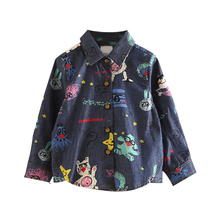 1-8 Years Baby Girls Clothing Cartoon Denim Long Sleeve Shirt For Girl Kids Turn Down Collar Casual Blouse Toddler New Fall Tops