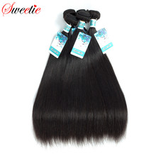 Sweetie Raw Indian Hair Straight 100% Human Hair Extensions 100g 8-30 Inch 1 Piece Only Natural Black Non-Remy Free Shipping(China)