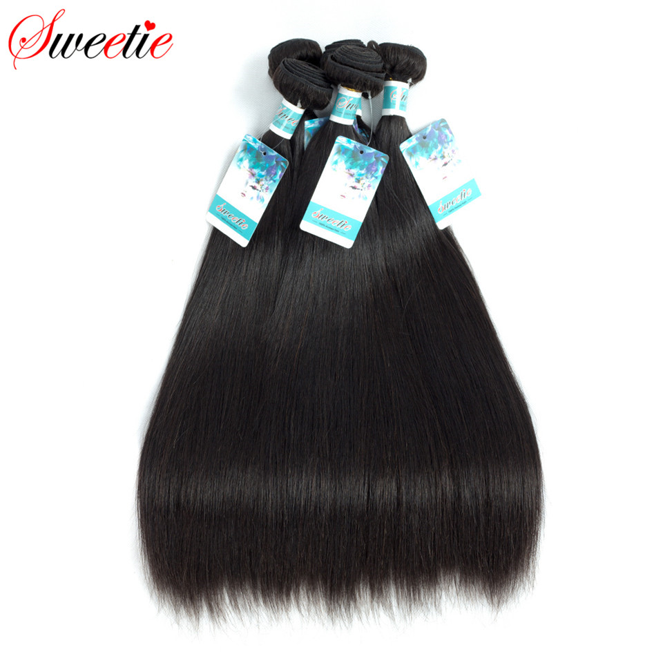 Sweetie Raw Indian Virgin Hair Straight 100% Human Hair Extensions 100g 8-30 Inch 1 Piece Only Natural Black Free Shipping(China)