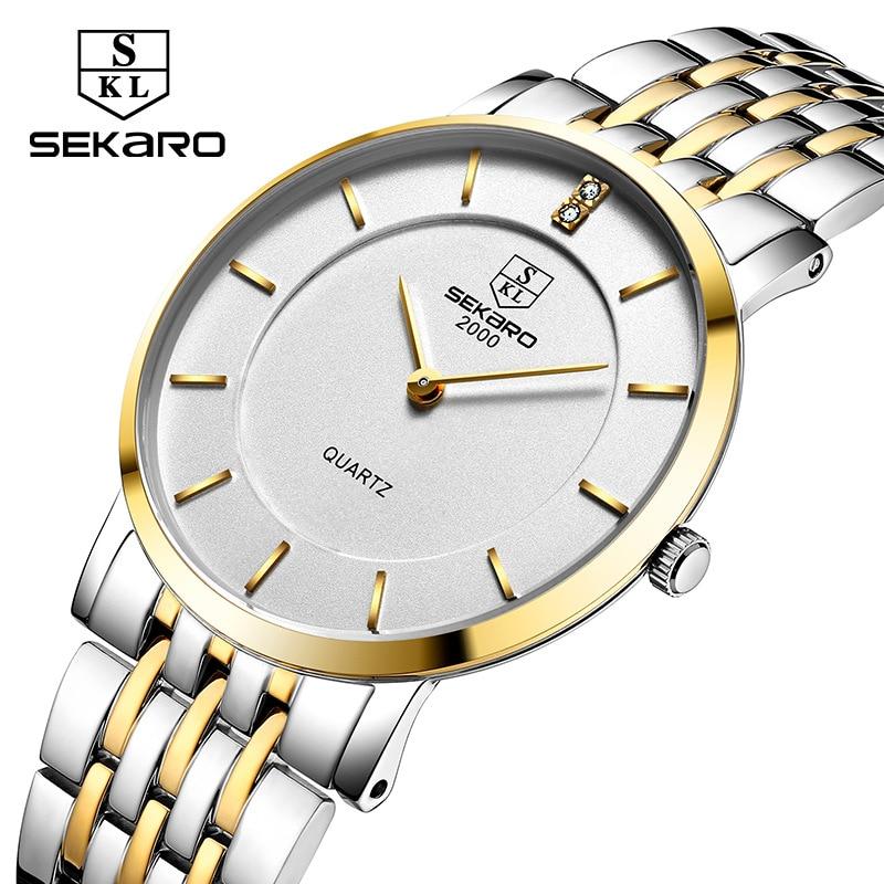 New Sekaro Business Quartz Watch Couple Watch Ultra-thin Waterproof Stainless Steel Bracelet Watch Men and Women Brand Watches<br>