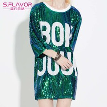 2017 New Letter Loose Summer Mini Dress Women Long Tops Women Sequin T Shirt Dresses Christmas Mini Paillette Dress Club Wear