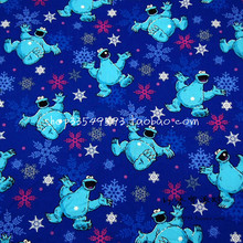 140X100cm Sesame Street Colorful Snowflakes Royal Blue Cotton Fabric for Boy Clothes Sewing Bedding Set Patchwork-AFCK518