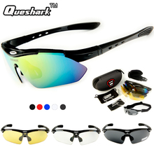 Queshark Tour De France Polarized Cycling Sunglasses Mountain Road MTB Bike Bicycle Glasses Riding Goggles Sports Eyewear 4 Lens