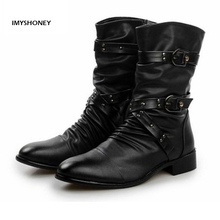 Mens Leather Crosses Rivet  Buckle Mid-calf Black Motorcycle Boots Dropship